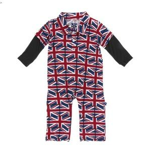 Kickee Pants Union Jack Double Layer Romper 12-18M